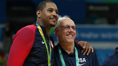 Why does Boeheim think Carmelo is unlikely to win NBA title?