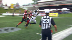 CFL In-Game: Toliver hauls in TD in double coverage