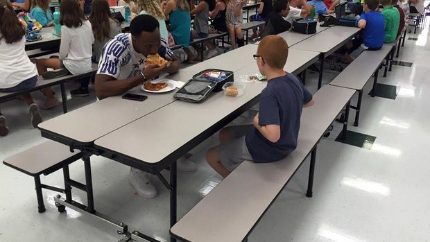 FSU's Rudolph eats lunch with student with autism