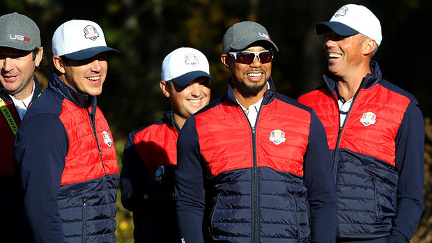 Tiger laughs off being left off of team photo