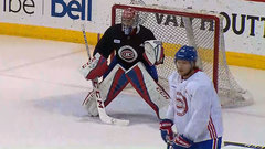 Price in starters net at Canadiens practice