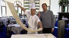 Rauter checks out noodle making at Las Vegas' Mr. Chow