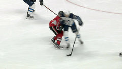 Trouba delivers hit to the head on Stone