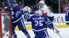 McElhinney, Matthews shine as Leafs capture two huge points