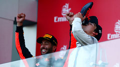 Must See: Stroll drinks champagne out of Ricciardo's shoe