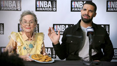 Kids, puppy, grandma get Drake out of tough media conference