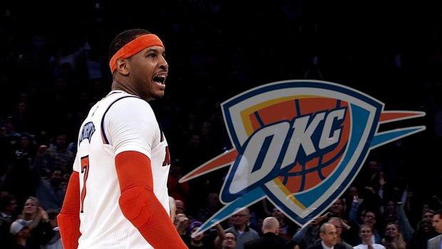 Carmelo joins Westbrook, George in OKC