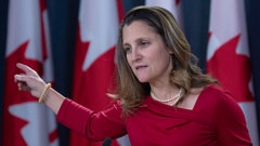 Freeland fires back at Trump's Huawei threat