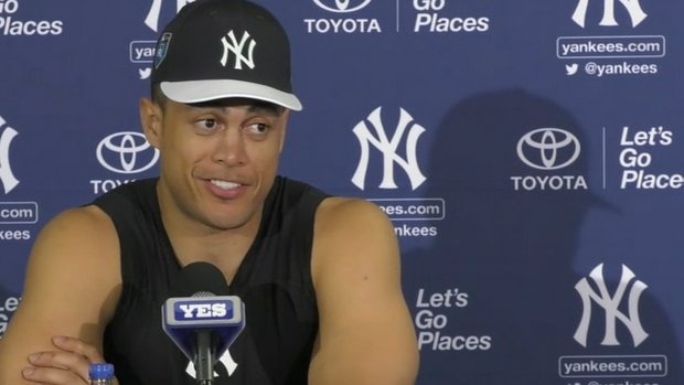 Stanton all smiles on Day 1 of spring training