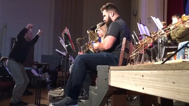 Kelce jams with high school band