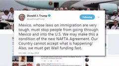 Trump tweets more tough talk on NAFTA