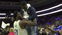 Must See: Embiid lifts Kevin Hart like a trophy