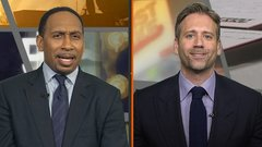 Max, Stephen A. on opposite sides for Harden's 0-11 3-point game