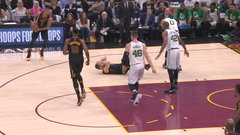 Love heads to locker room after collision with Tatum