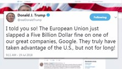 Trump targets EU on Twitter after antitrust fine against Google