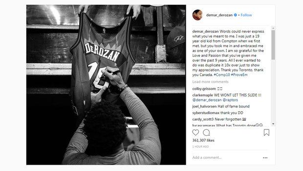 DeRozan bids farewell to Canada with Instagram post
