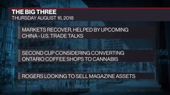 The Big Three: Markets recovery; Second Cup and pot retail; Rogers' magazine assets