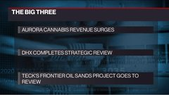The Big Three: Aurora earnings, DHX strategic review, Teck's Frontier project