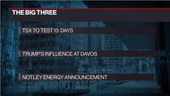 The Big Three: TSX to test 13 days; Trump's influence at Davos; Notley energy announcement