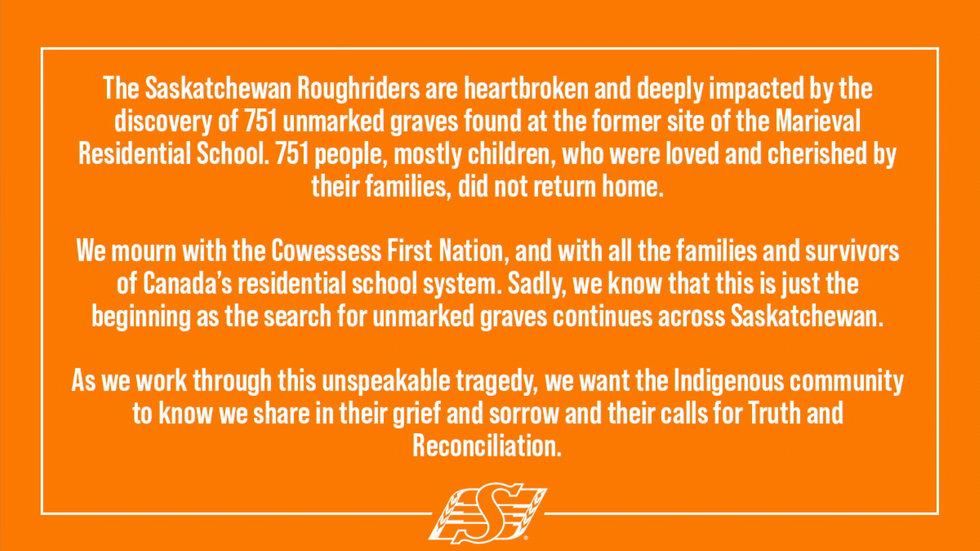 Roughriders release statement on heartbreaking findings in Saskatchewan