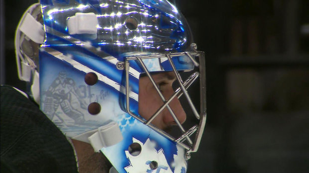 Mrazek honours Frycer, Crha with shiny new Leafs mask